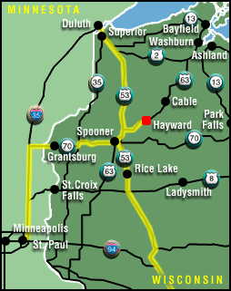 Map to Grand Pines Resort in Hayward, Wisconsin