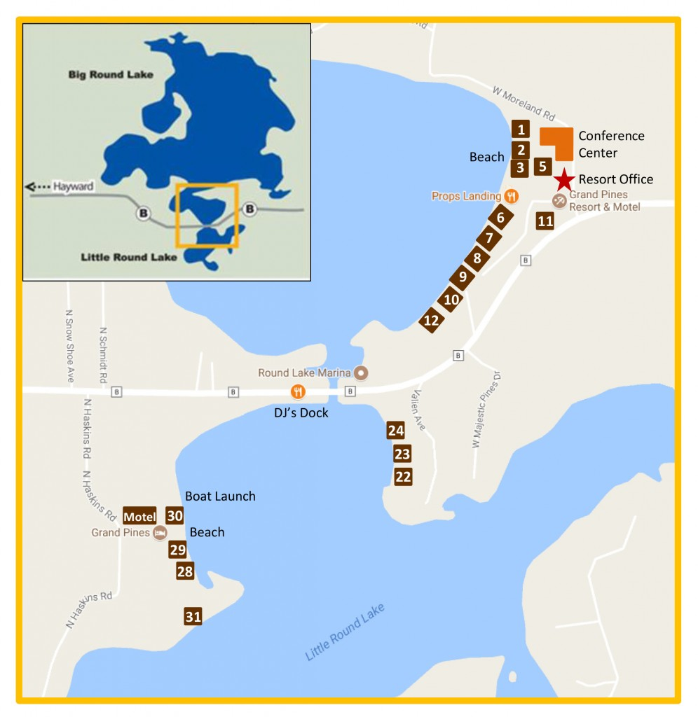 Grand Pines Resort Map Hayward Wisconsin Resort Cabins Map of